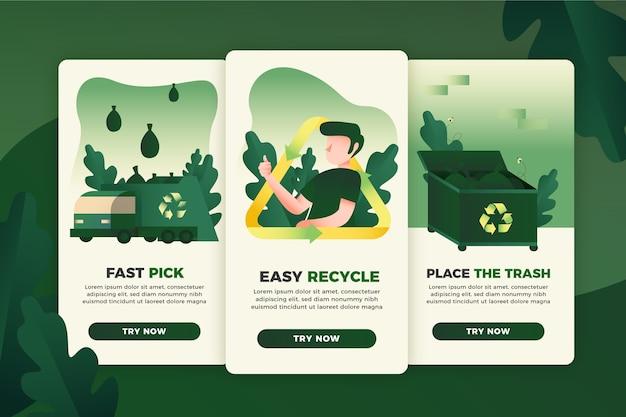 Recycle коллекция экранов приложения Бесплатные векторы