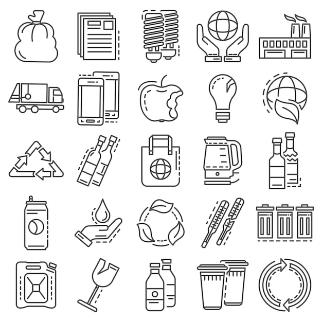 Recycles icon set. outline set of recycles vector icons Premium Vector