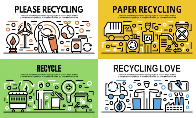 Recycling banner set, outline style Premium Vector