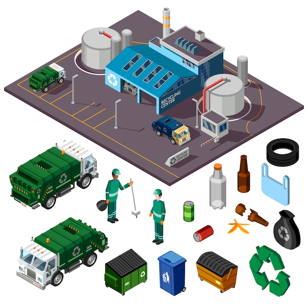 Recycling center isometric illustration Free Vector