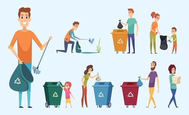 Переработка мусора. люди, сортирующие мусор, защищают окружающую среду персонажей процесса разделения мусора. Premium векторы