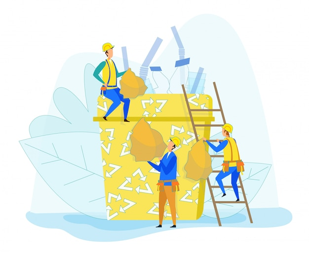 Recycling and garbage separating with tiny workers Premium Vector