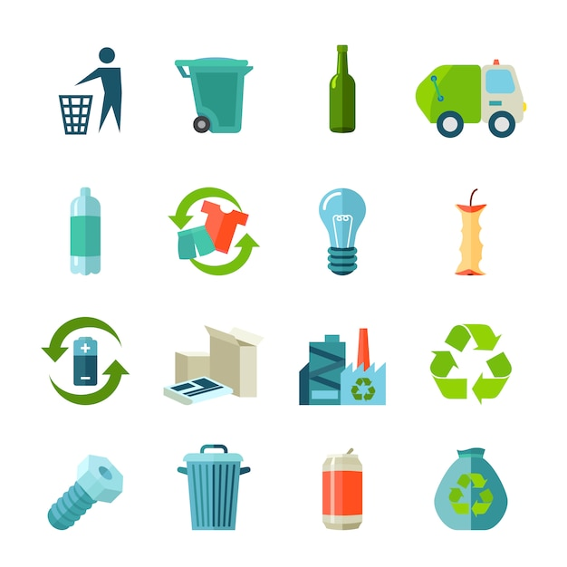 Recycling icons set with waste types and collection flat Free Vector