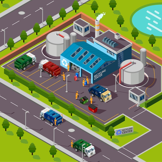 Recycling plant isometric illustration Free Vector