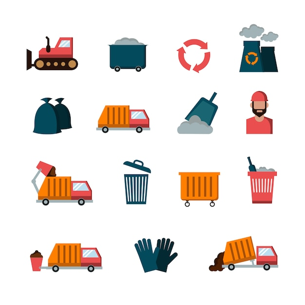 Recycling and waste flat vector icons Premium Vector