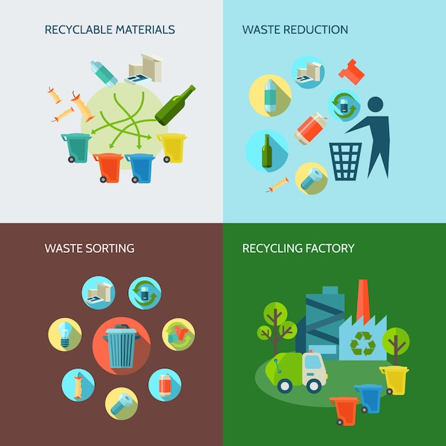 Recycling and waste reduction icons set with materials and sorting flat Free Vector