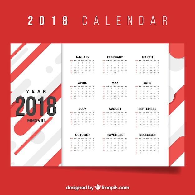 red 2018 calendar free vector