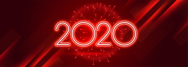 Red 2020 happy new year celebration shiny banner Free Vector