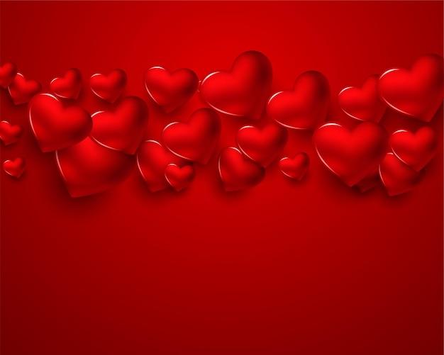 День святого валентина с красными сердечками Бесплатные векторы