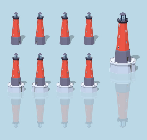 Red 3d lowpoly isometric lighthouse Premium Vector