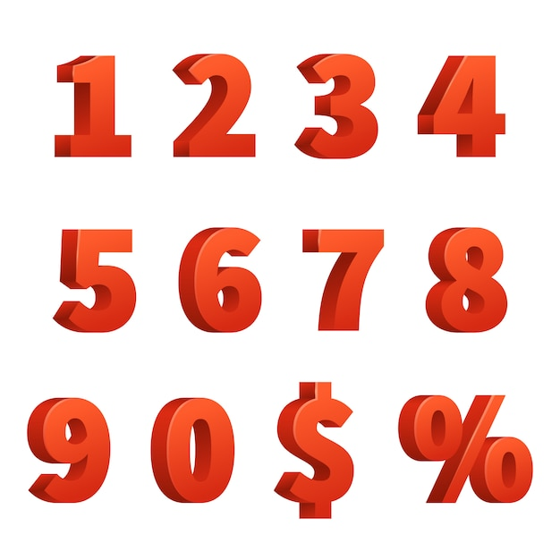 Red 3d numbers vector signs Premium Vector