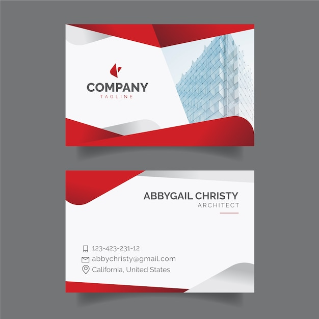 Red abstract business card template with photo Free Vector