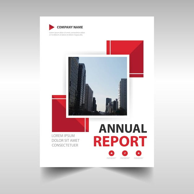 Red abstract corporate annual report template Vector Free Download