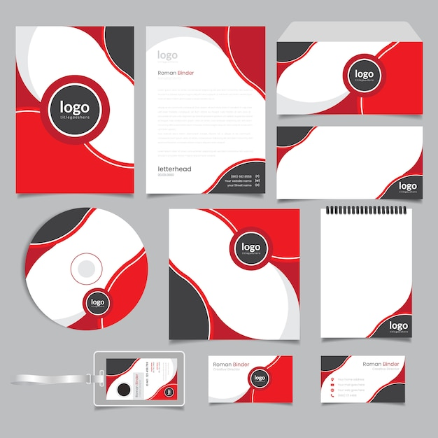 Red abstract corporate branding identity Premium Vector