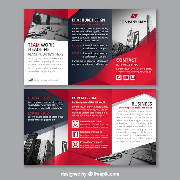 Red abstract shapes corporate triptych template Free Vector