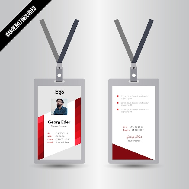 Red Abstract Simple Id Card Design Template Vector   Premium Download