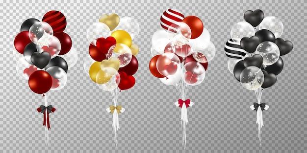 Красные и черные шары на прозрачном фоне. Бесплатные векторы
