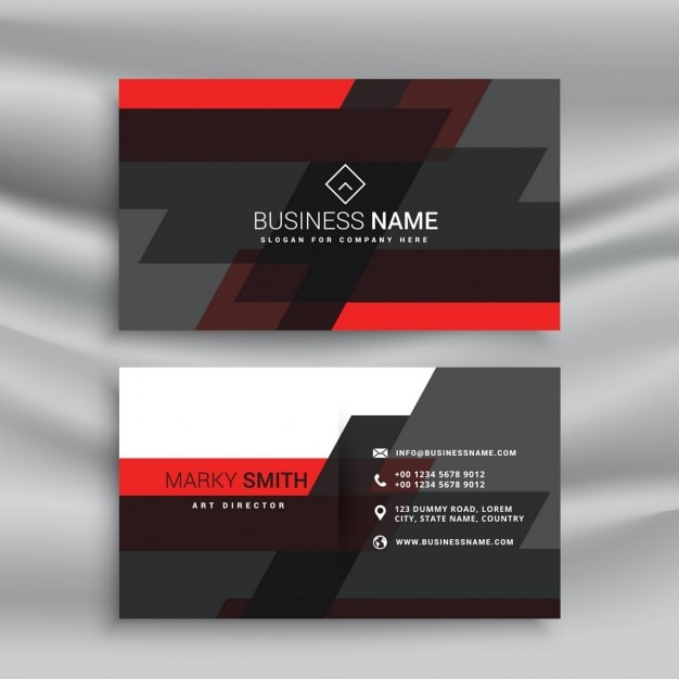 Red and black business card template layout in abstract for Red business card template