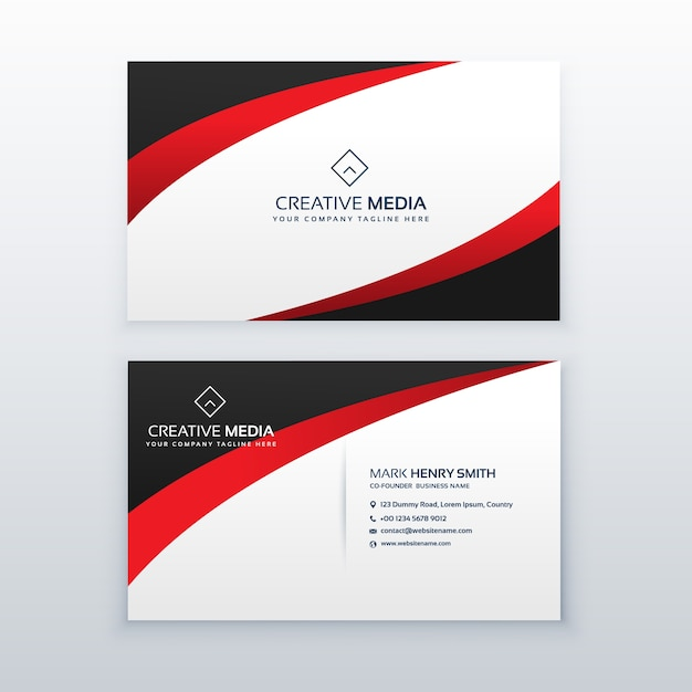 Red and black business card template vector free download for Red business card template