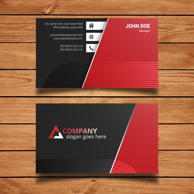 Red And Black Business Card Template Free Vector