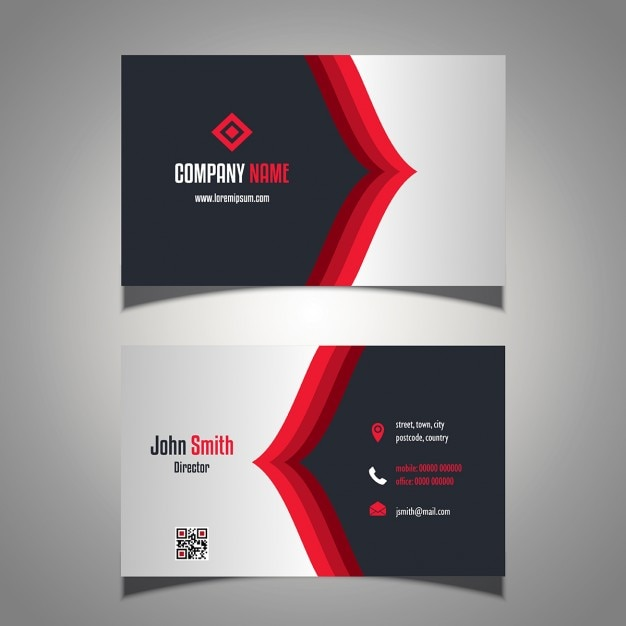 red and black business card vector free download