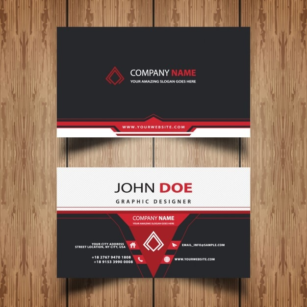 Red And Black Business Card Vector