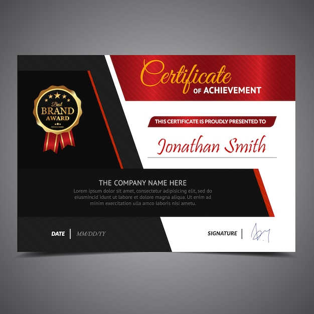 Red and black certificate template vector free download red and black certificate template free vector yelopaper Image collections