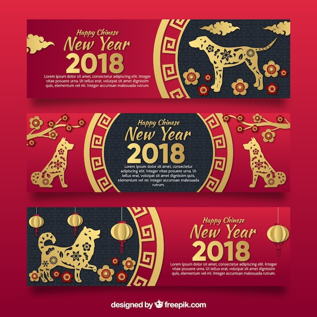 Red and black chinese new year banners Free Vector