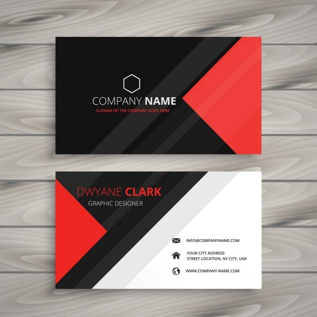 Red And Black Corporate Business Card Free Vector