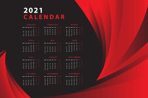 Красно-черный календарь дизайна на 2021 год Бесплатные векторы