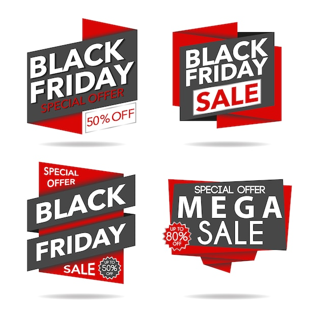 Red and black friday sale logo collection