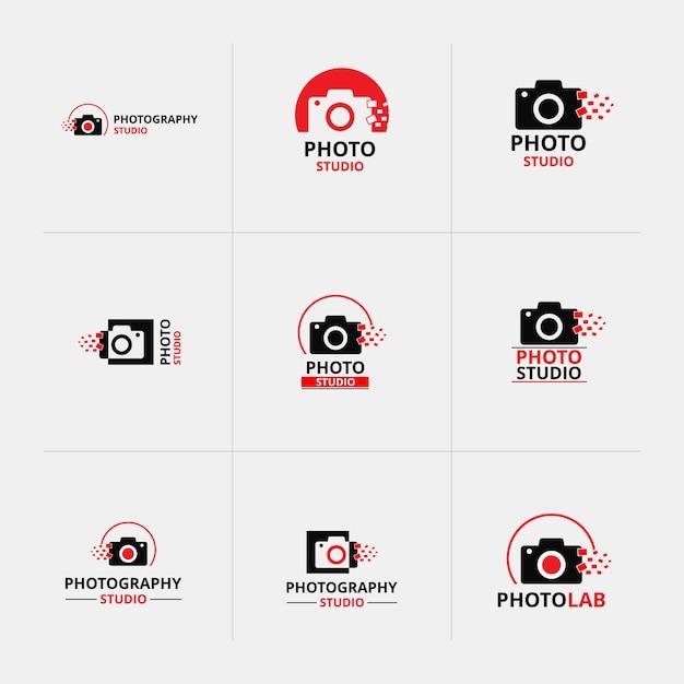 Векторные красные и черные иконы для фотографов 9 Бесплатные векторы