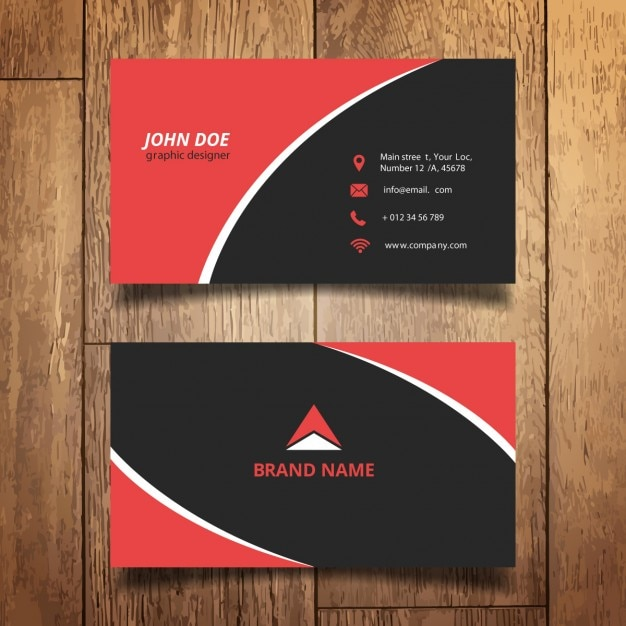 red and black modern business card vector free download