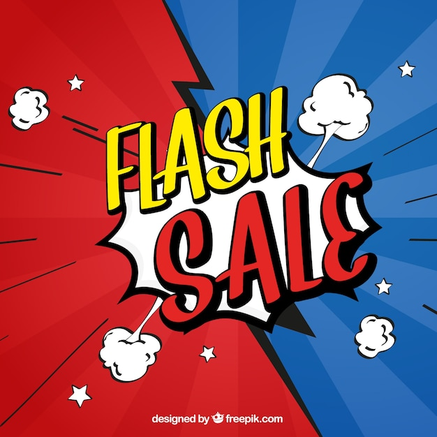 Red and blue flash sale design in comic style Free Vector