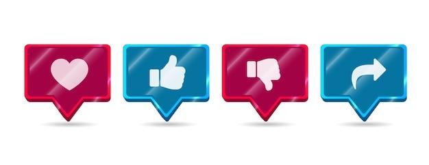 Красный и синий современный круглый блестящий нравится не нравится поделиться подписаться на значок сети социальных сетей Premium векторы