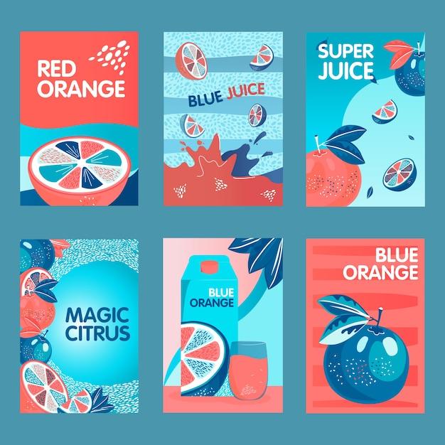 赤と青オレンジのポスターセット。果物、水しぶき、柑橘類のジュースパックのベクトル図をテキストで丸ごとカットします。パックやチラシのデザインのための食べ物や飲み物のコンセプト 無料ベクター