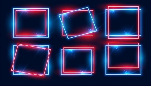 Красные и синие прямоугольные неоновые рамки набор из шести Бесплатные векторы