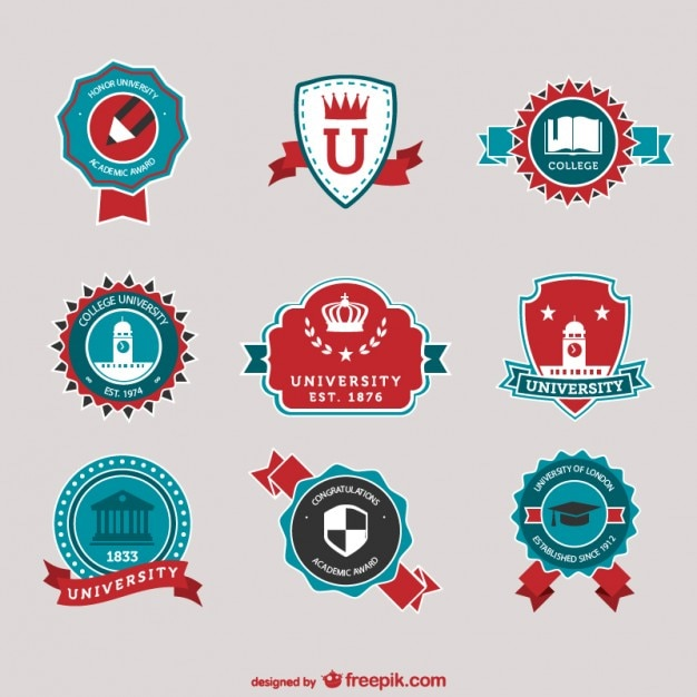 red and blue university logos vector free download