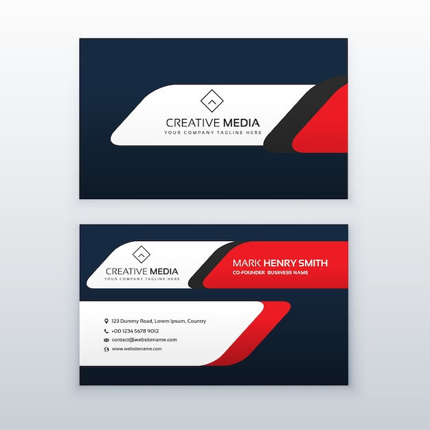 red and dark blue business card template vector free