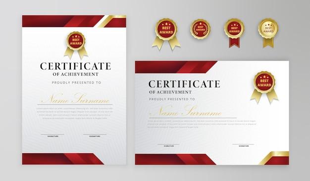 ビジネスと卒業証書のための赤と金の証明書のボーダーバッジテンプレート Premiumベクター
