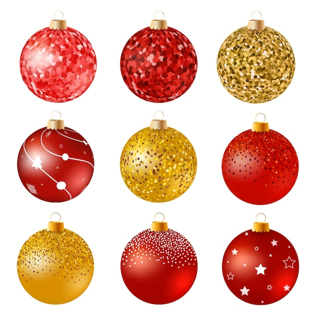 red and gold christmas balls on white surface set of isolated realistic decorations vector - White And Gold Christmas Ornaments