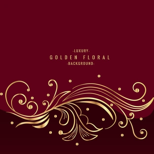 red and gold floral background vector free download