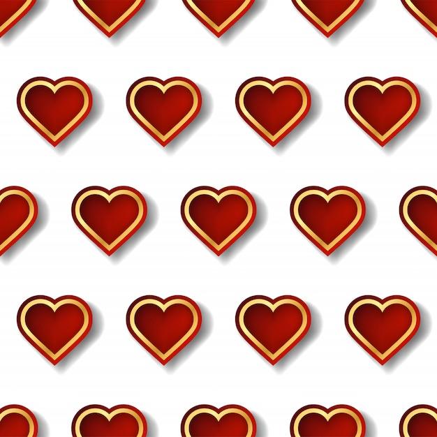 Красный и золотой сердце шаблон с творческой формы в геометрическом стиле. Premium векторы