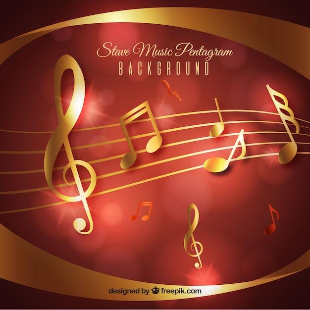 Красный и золотой музыкальный фон Бесплатные векторы