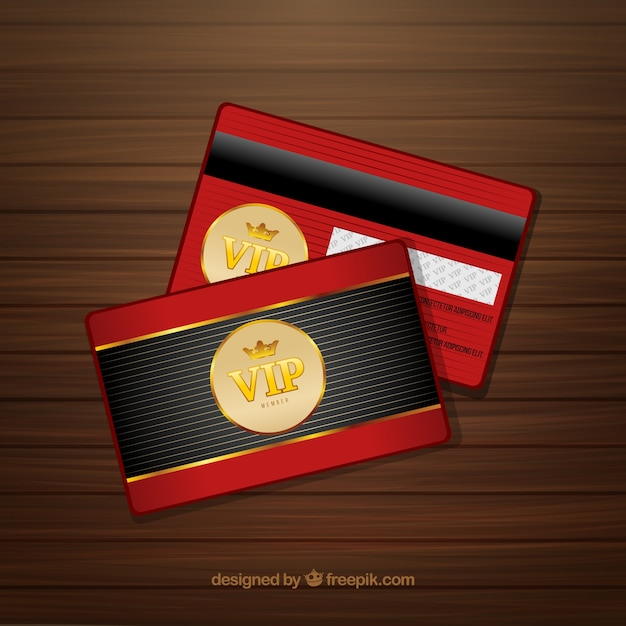 Red and golden card of vip member