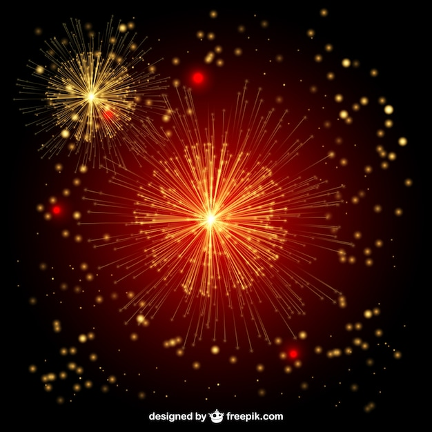 red and golden fireworks vector free download
