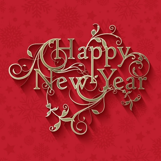 Red and golden ornamental new year card