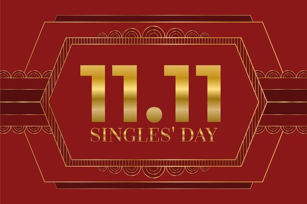 日付と赤と金のシングル日の背景 無料ベクター