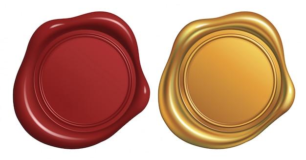 빨간색과 황금색 왁 스 씰 스탬프 프리미엄 벡터