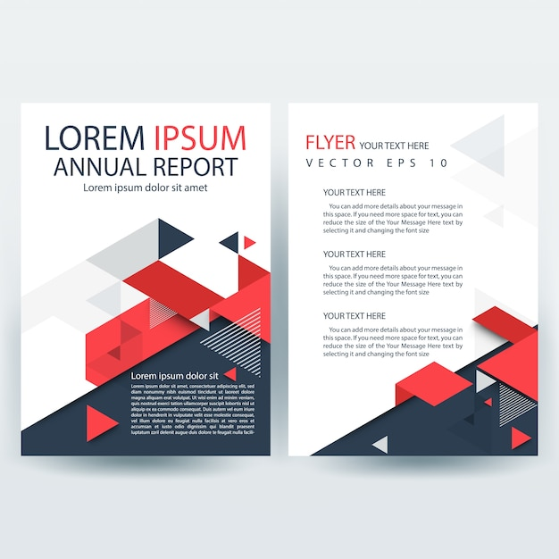 Red and Gray Creative Report Cover Template with Geometric Shapes Free Vector